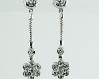 Philippe Charriol Diamond Cable Earrings 18K White Gold Flower