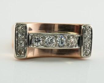 Diamond Ring, Vintage Cluster, 14K Rose Gold Band