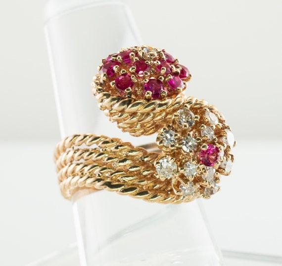 Diamond Ruby Ring 14K Gold Cocktail Vintage Estate