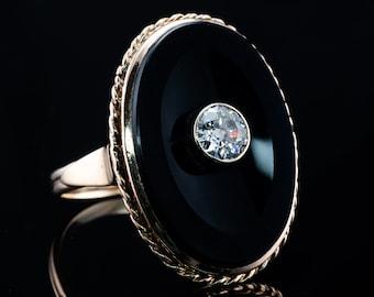 Black Onyx Diamond Ring, Vintage Oval 14K Gold Cocktail
