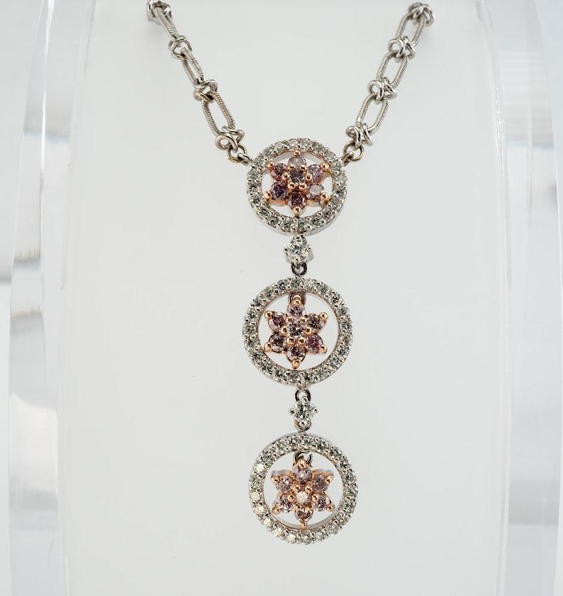4008d65bb9639 Pink Diamond Necklace, Genuine Diamonds (2.00cttw) April Birthstone, 14K  White & Rose Gold