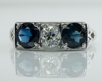Diamond Sapphire Ring, Three Stone Vintage 14K Gold