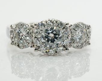 Diamond Ring, Three Stone Halo, 14K Gold Band