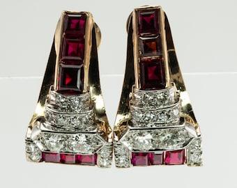 Art Deco Diamond Garnet Ruby Earrings, Vintage 14K Gold