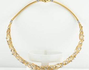 Diamond Necklace Choker, Vintage 14K Gold