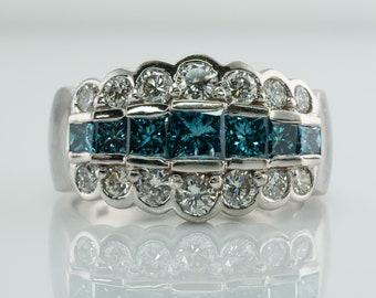 Blue & White Diamond Ring, 14K White Gold Band