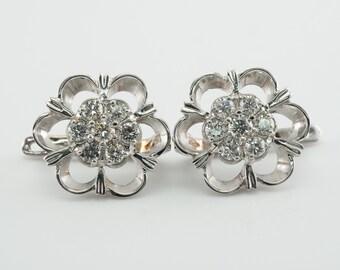 Diamond Earrings, Vintage Flower 14K White Gold