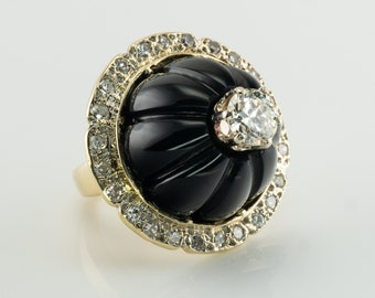 Black Onyx Diamond Ring, Vintage 14K Gold Cocktail