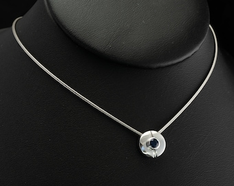 Sapphire Pendant M Necklace, 18K Gold Snake Chain