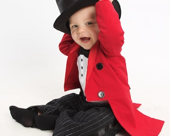 Suit---3 month 16 years white and cream-Tuxedo and tailcoat Boys  Black