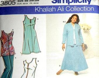 Pattern Womens Jacket Dress Skirt Pants Top Simplicity #3805 Khaliah Ali Collection Size BB 20W-28W