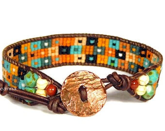 designed and manufactured by Ann Benson fibers portable beads or both adjustable BraceletCuff Loom no end finishing
