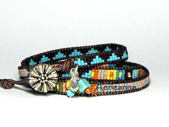 Tea language Leather Wrap Bracelet Boho wrap Bracelet Leather Bracelet Turquoises Natural Stone Jewelry