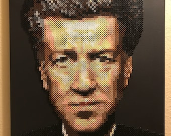 David Lynch portrait made from thousands of Perler beads