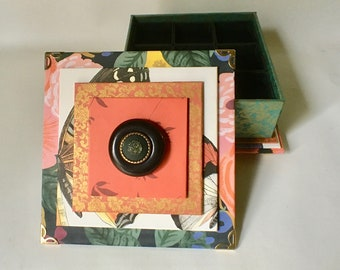 Handmade Jewelry Box with Nine Compartments and Removable Ring Inserts