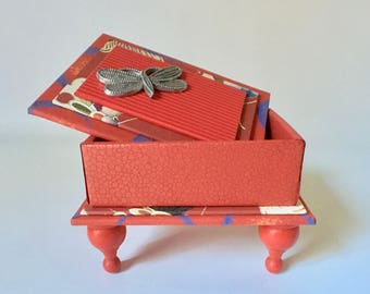 Bright Red Gift Box with Pewter Butterfly
