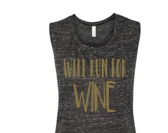 Will Run For Wine Women's Running Tank Cardio Tank Workout Tank Gym Fitness