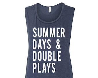 Summer Days And Double Plays Muscle Tank Women's Baseball Shirt Baseball Season Baseball Mama Muscle Tank Women's Clothing