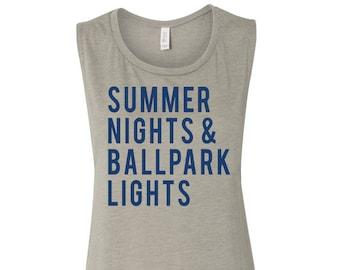 Summer Nights And Ballpark Lights Muscle Tank Women's Baseball Shirt Baseball Season Baseball Mama Muscle Tank Women's Clothing