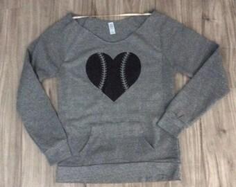 Baseball Heart Sweatshirt Off The Shoulder Sweatshirt Brunch Tops Glitter Baseball Season