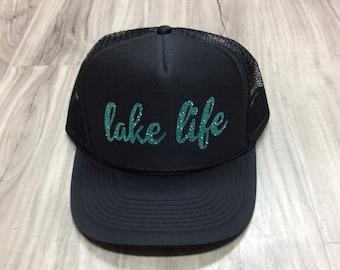 Lake Life Women's Trucker Hat Lake Trucker Hats Glitter Summer Trucker Hats Womens Summer Trucker Hats