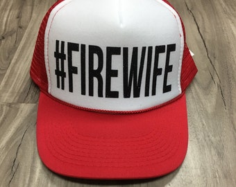 Firewife Trucker Hat #Firewife Firefighter Wife Firefighter Girlfriend Fire Support Women's Trucker Hat Glitter Firefighter Trucker Hats
