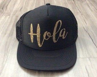 Hola Trucker Hat Cabo Trucker Hat Mexico Vacation Hat Women's Trucker Hat Vacation Trucker Hats