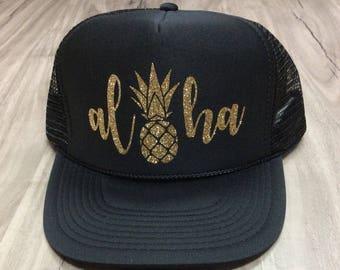 Aloha Pineapple Trucker Hat Vacation Hat Hawaii Hat Pineapple Trucker Hat  Glitter Women s Trucker Hat 602bd4a9808b