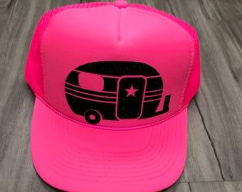 Camper Camping Trucker Hat Mesh Camping Desert Riding Country Women's Ocotillo Glamis Dunes