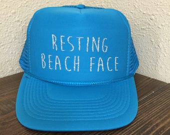 Resting Beach Face Trucker Hat Beach River Hawaii Tropical Vacation Vacay Mode Women's