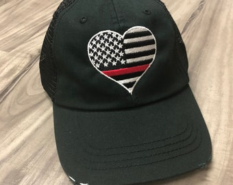 Embroidered Thin Red Line Fire Fireman Wife Unstructured Dad Hat Embroidery Custom Initials  Low Profile Curved Bill
