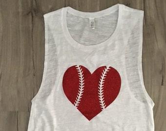 Baseball Heart Muscle Tank Baseball Top Women's Baseball Tank Baseball Season Glitter Muscle Tank