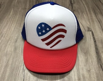 American Flag Heart Glitter Trucker Hat Foam Mesh River Camping Desert Riding Country Women's Adjustable