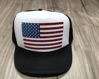 37f3300ac17 American Flag Trucker Hat Glitter Flag Hat Fourth Of July Memorial Day  Women s Trucker Hat