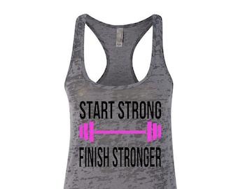 Start Strong Finish Stronger Workout Racerback Tank Top Running Runner