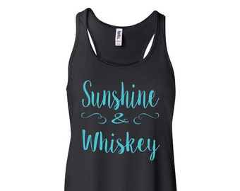 Sunshine & Whiskey Flowy Tank Top Women's Flowy Tank Country Concert Tank