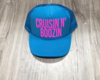 Cruzin N Boozin Trucker Hat Women s Trucker Hat Women s Hats River Trucker  Hats Vacation Hat Drinking Hat 86f6a768b9a