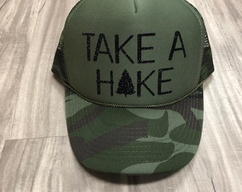 Take A Hike Trucker Hat Camping Hats Glamping Hats Funny Camping Hat  Glitter Trucker Hats Women s Trucker Hats Camping Saying Hats 1e646c328c9b