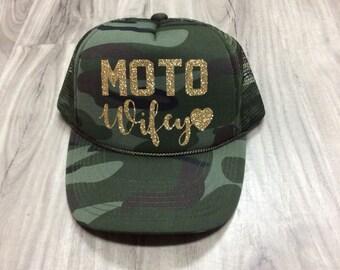 21bda7b3d02 Moto Wifey Trucker Hat Motocross Trucker Hat Camo Glitter Moto Trucker Hat  Women s Mesh Unisex Trucker Hat Camo Trucker Hats