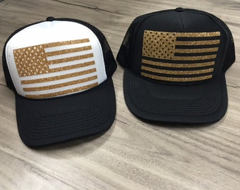 f070e7201ce4f0 American Flag Trucker Hat Fourth Of July Memorial Day Patriotic Womens Trucker  Hat Glitter American Flag