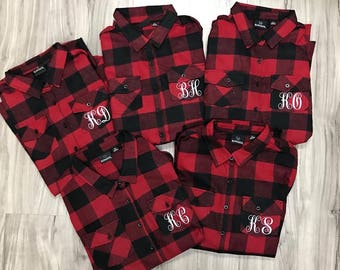 Bridal Flannels Monogram Flannels Red Black Buffalo Plaid Women's Flannels Womens Bridal Party Flannels Wedding Day Flannels Bride