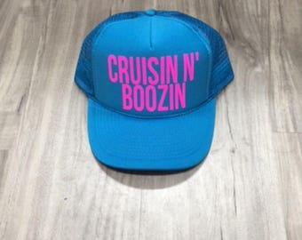 Cruzin N Boozin Trucker Hat Women's Trucker Hat Women's Hats River Trucker Hats Vacation Hat Drinking Hat