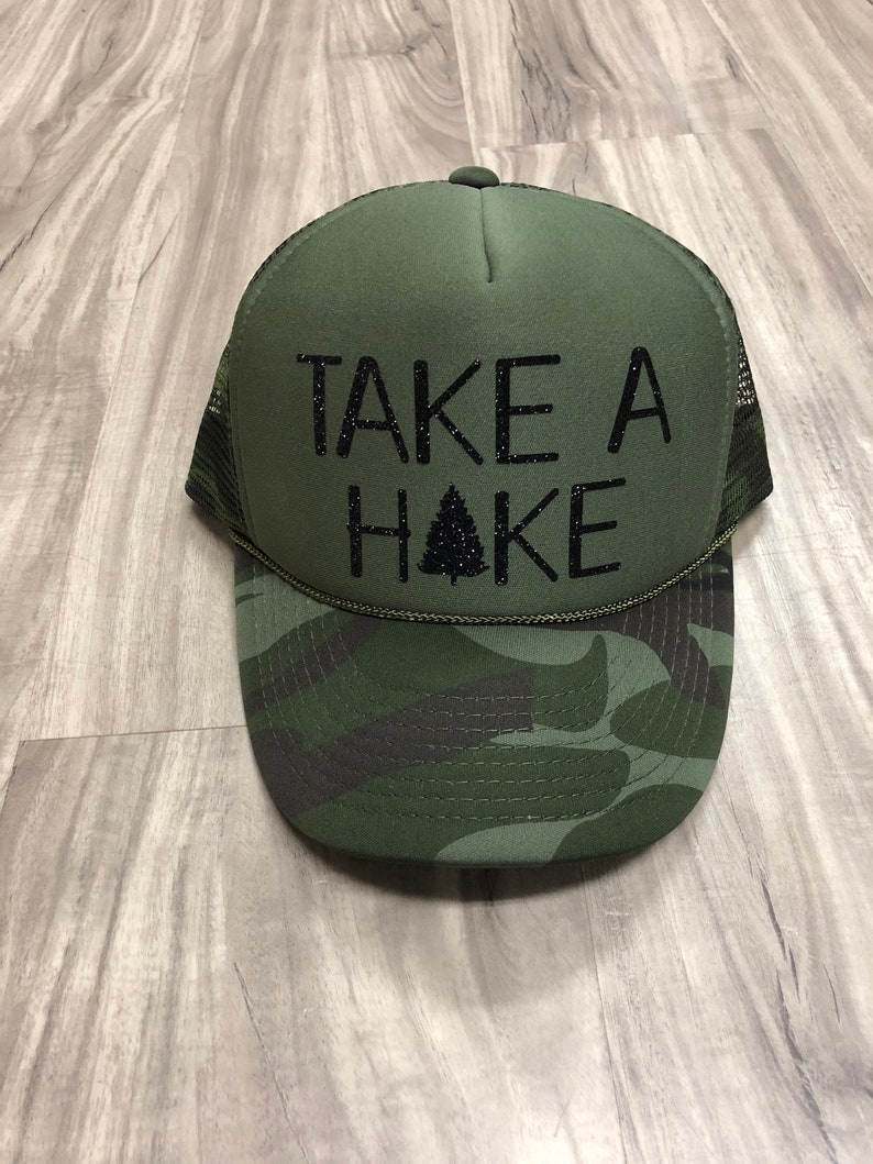 fa333267328f0 Take A Hike Trucker Hat Camping Hats Glamping Hats Funny