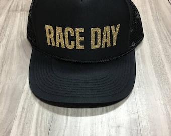 Race Day Trucker Hat Mesh Womens Trucker Hat Glitter Racing Hat Womens Race Day