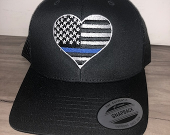 Embroidered Thin Blue Line Hat Embroidery Custom Initials Retro Trucker Snapback Snap Back American Flag Heart
