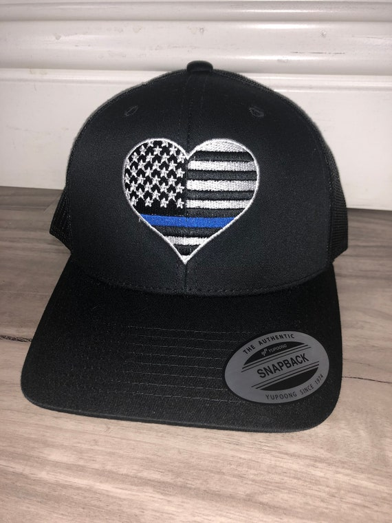 Embroidered Thin Blue Line Hat Embroidery Custom Initials  ebbe115070b
