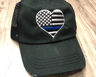 Embroidered Thin Blue Line Unstructured Dad Hat Embroidery Custom Initials  Low Profile Curved Bill