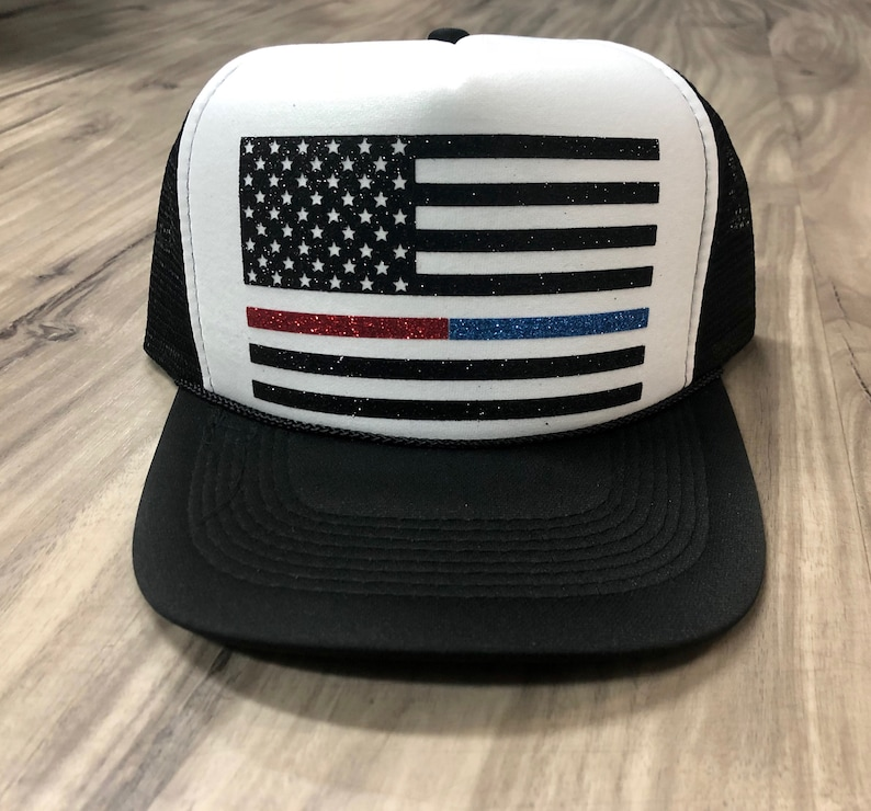 160b5a3a5 Thin Red Line Flag Thin Blue Line Flag Trucker Hat American Flag Trucker  Hat Glitter Flag Hat Fourth Of July Memorial Day Trucker Hat