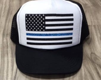 Police American Flag Trucker Hat Police Wife Hat Womens Trucker Hat Glitter Police Flag Hat Police Support Trucker Hats