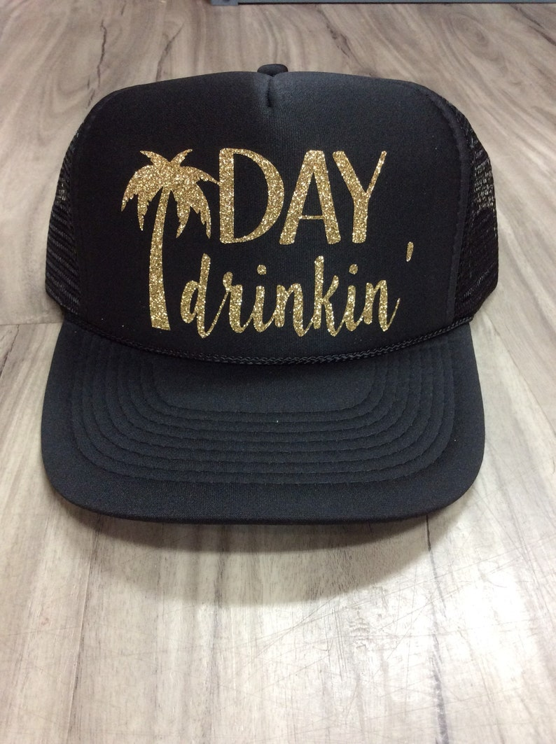 7fb436539c5b4 Day Drinkin  Palm Tree Trucker Hat Brunch River Lake